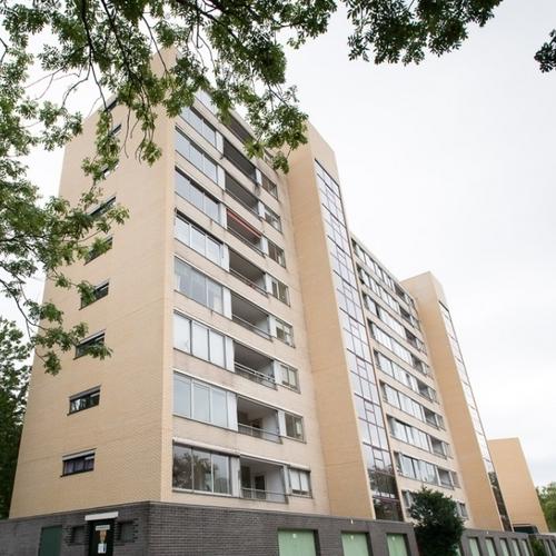 Herstelde gevel flatgebouw waar spouwankers zijn bijgeplaatst